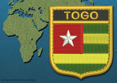 This Flag of Togo Shield with a Gold border design was digitized and embroidered by www.embroidery.design.
