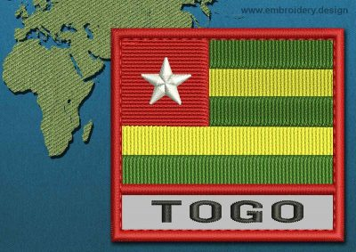This Flag of Togo Text with a Colour Coded border design was digitized and embroidered by www.embroidery.design.