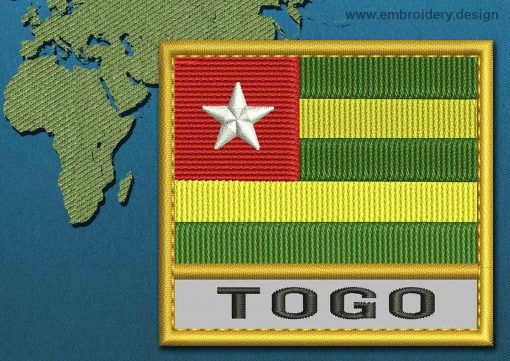 This Flag of Togo Text with a Gold border design was digitized and embroidered by www.embroidery.design.
