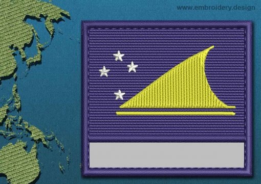 This Flag of Tokelau Customizable Text  with a Colour Coded border design was digitized and embroidered by www.embroidery.design.