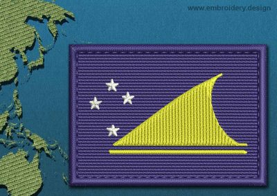 This Flag of Tokelau Rectangle with a Colour Coded border design was digitized and embroidered by www.embroidery.design.
