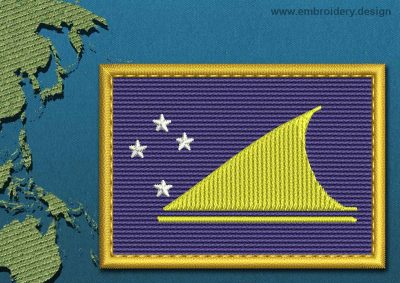 This Flag of Tokelau Rectangle with a Gold border design was digitized and embroidered by www.embroidery.design.