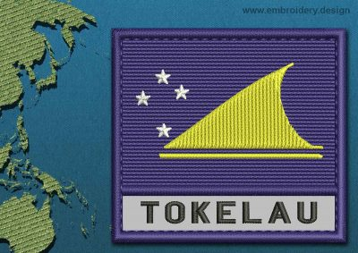 This Flag of Tokelau Text with a Colour Coded border design was digitized and embroidered by www.embroidery.design.