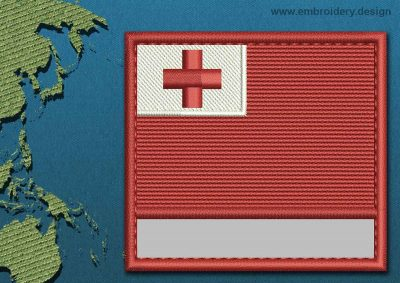 This Flag of Tonga Customizable Text  with a Colour Coded border design was digitized and embroidered by www.embroidery.design.