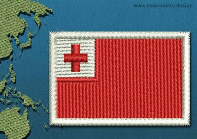 This Flag of Tonga Mini with a Colour Coded border design was digitized and embroidered by www.embroidery.design.