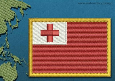 This Flag of Tonga Rectangle with a Gold border design was digitized and embroidered by www.embroidery.design.