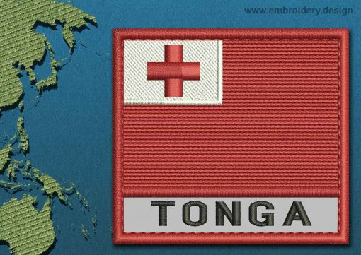 This Flag of Tonga Text with a Colour Coded border design was digitized and embroidered by www.embroidery.design.