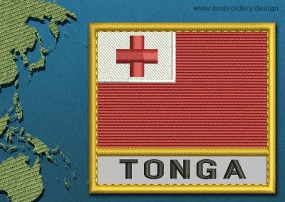 This Flag of Tonga Text with a Gold border design was digitized and embroidered by www.embroidery.design.