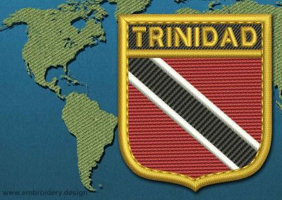 This Flag of Trinidad and Tobago Shield with a Gold border design was digitized and embroidered by www.embroidery.design.