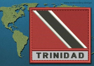 This Flag of Trinidad and Tobago Text with a Colour Coded border design was digitized and embroidered by www.embroidery.design.