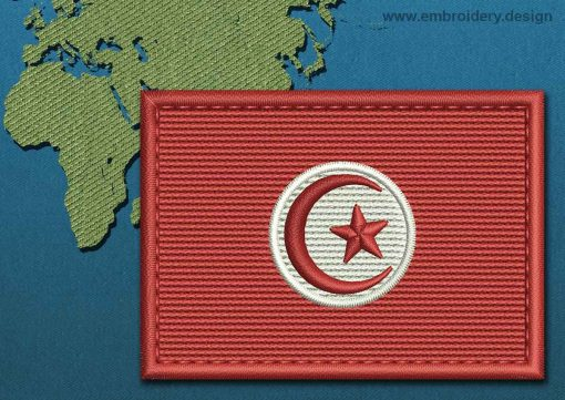 This Flag of Tunisia Rectangle with a Colour Coded border design was digitized and embroidered by www.embroidery.design.