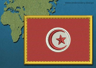 This Flag of Tunisia Rectangle with a Gold border design was digitized and embroidered by www.embroidery.design.