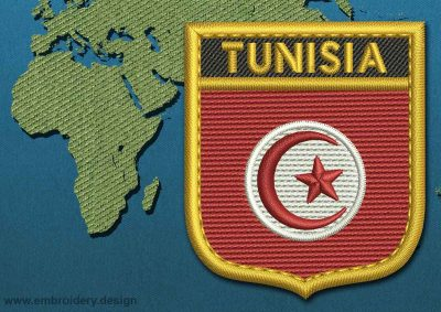 This Flag of Tunisia Shield with a Gold border design was digitized and embroidered by www.embroidery.design.