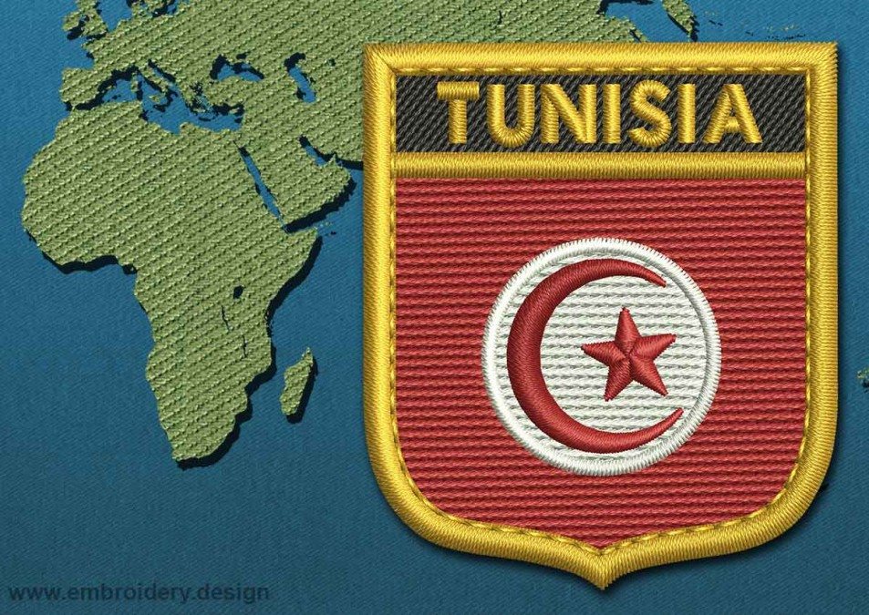 Tunisia Shield Flag with a Gold Border