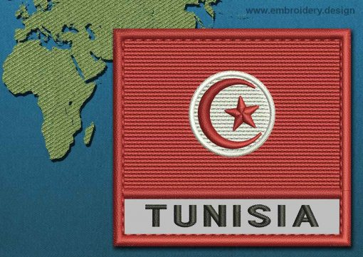 This Flag of Tunisia Text with a Colour Coded border design was digitized and embroidered by www.embroidery.design.
