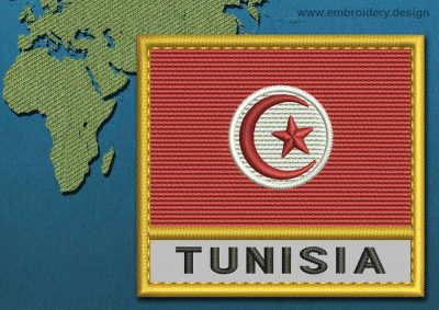 This Flag of Tunisia Text with a Gold border design was digitized and embroidered by www.embroidery.design.