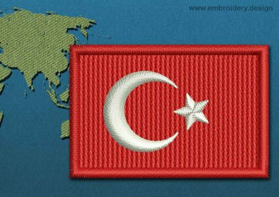 This Flag of Turkey Mini with a Colour Coded border design was digitized and embroidered by www.embroidery.design.