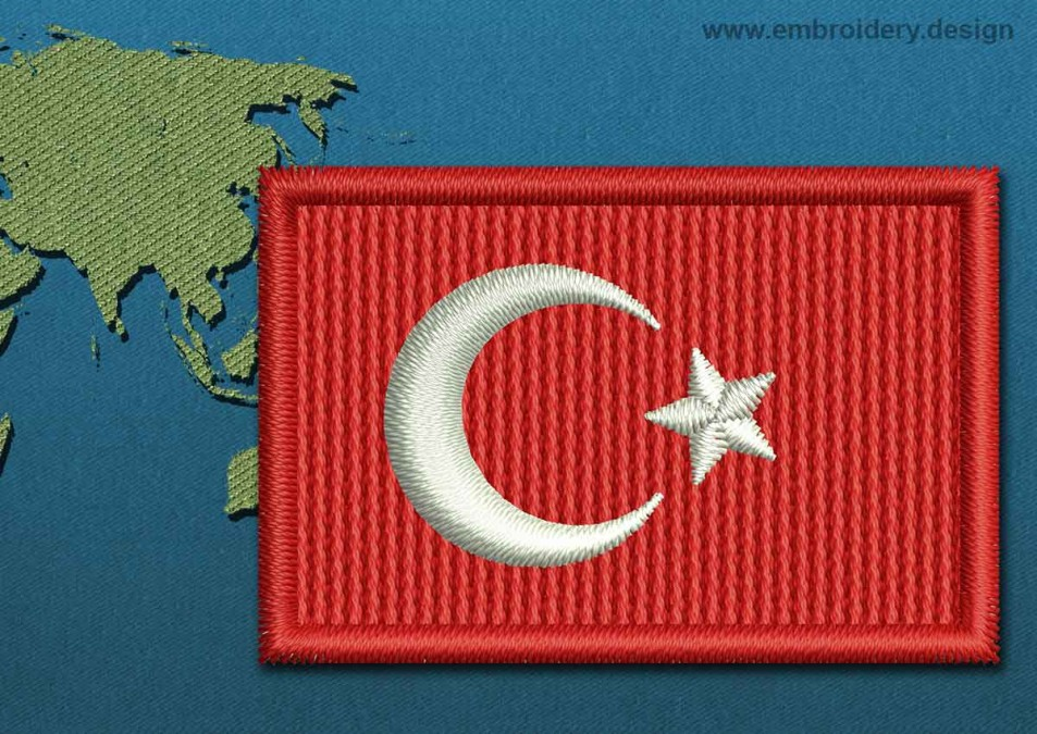 Turkey Mini Flag with a Colour Coded Border