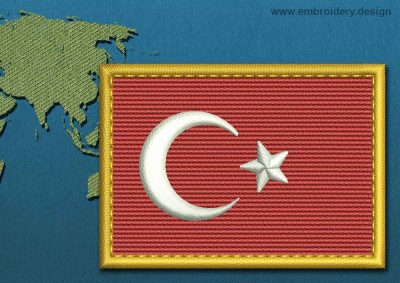 This Flag of Turkey Rectangle with a Gold border design was digitized and embroidered by www.embroidery.design.