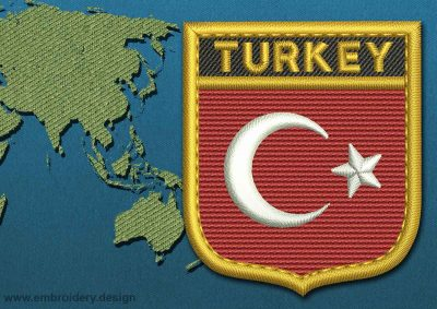 This Flag of Turkey Shield with a Gold border design was digitized and embroidered by www.embroidery.design.