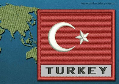 This Flag of Turkey Text with a Colour Coded border design was digitized and embroidered by www.embroidery.design.