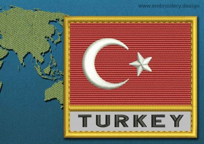 This Flag of Turkey Text with a Gold border design was digitized and embroidered by www.embroidery.design.