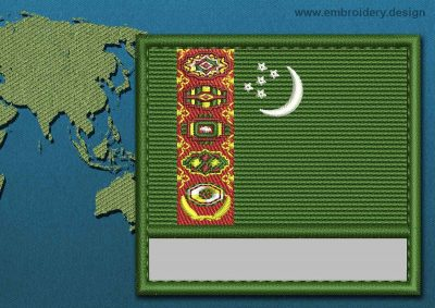 This Flag of Turkmenistan Customizable Text  with a Colour Coded border design was digitized and embroidered by www.embroidery.design.