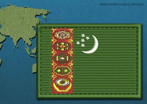 This Flag of Turkmenistan Rectangle with a Colour Coded border design was digitized and embroidered by www.embroidery.design.