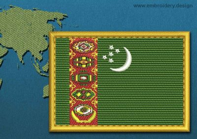 This Flag of Turkmenistan Rectangle with a Gold border design was digitized and embroidered by www.embroidery.design.