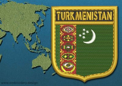 This Flag of Turkmenistan Shield with a Gold border design was digitized and embroidered by www.embroidery.design.