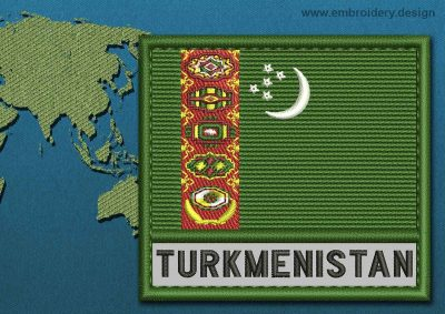 This Flag of Turkmenistan Text with a Colour Coded border design was digitized and embroidered by www.embroidery.design.