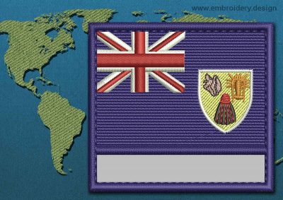 This Flag of Turks and Caicos Islands Customizable Text  with a Colour Coded border design was digitized and embroidered by www.embroidery.design.