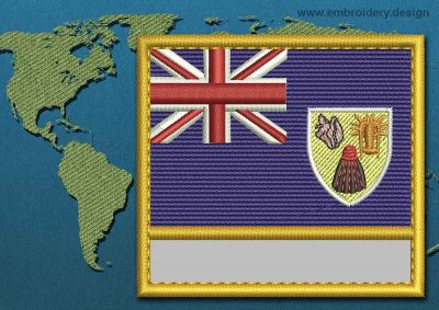 This Flag of Turks and Caicos Islands Customizable Text  with a Gold border design was digitized and embroidered by www.embroidery.design.