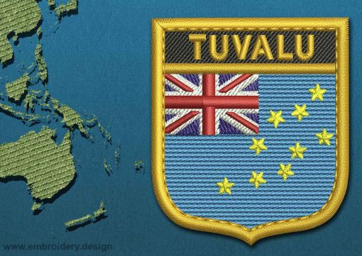 This Flag of Tuvalu Shield with a Gold border design was digitized and embroidered by www.embroidery.design.
