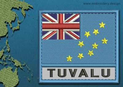 This Flag of Tuvalu Text with a Colour Coded border design was digitized and embroidered by www.embroidery.design.