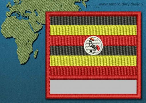 This Flag of Uganda Customizable Text  with a Colour Coded border design was digitized and embroidered by www.embroidery.design.