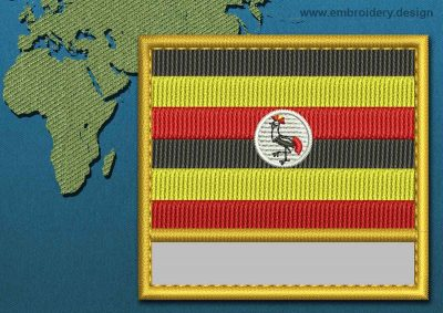 This Flag of Uganda Customizable Text  with a Gold border design was digitized and embroidered by www.embroidery.design.