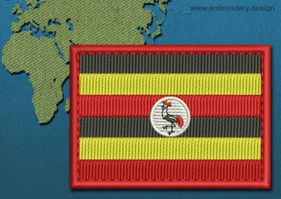 This Flag of Uganda Rectangle with a Colour Coded border design was digitized and embroidered by www.embroidery.design.