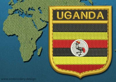 This Flag of Uganda Shield with a Gold border design was digitized and embroidered by www.embroidery.design.