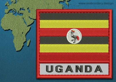 This Flag of Uganda Text with a Colour Coded border design was digitized and embroidered by www.embroidery.design.