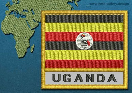 This Flag of Uganda Text with a Gold border design was digitized and embroidered by www.embroidery.design.
