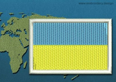 This Flag of Ukraine Mini with a Colour Coded border design was digitized and embroidered by www.embroidery.design.