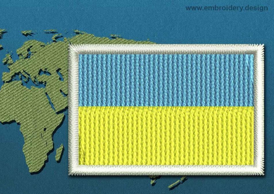 Ukraine Mini Flag with a Colour Coded Border