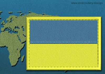 This Flag of Ukraine Rectangle with a Colour Coded border design was digitized and embroidered by www.embroidery.design.