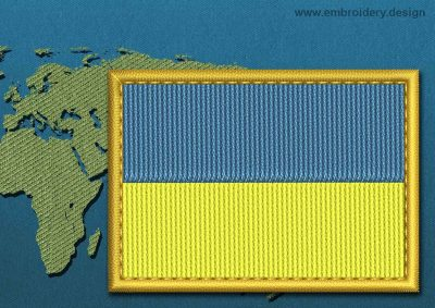 This Flag of Ukraine Rectangle with a Gold border design was digitized and embroidered by www.embroidery.design.
