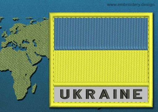 This Flag of Ukraine Text with a Colour Coded border design was digitized and embroidered by www.embroidery.design.