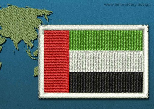 This Flag of United Arab Emirates Mini with a Colour Coded border design was digitized and embroidered by www.embroidery.design.