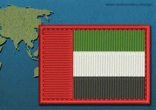 This Flag of United Arab Emirates Rectangle with a Colour Coded border design was digitized and embroidered by www.embroidery.design.