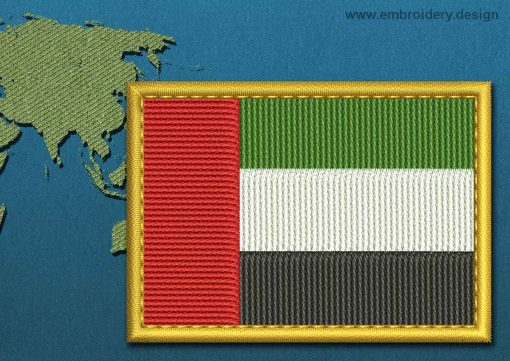 This Flag of United Arab Emirates Rectangle with a Gold border design was digitized and embroidered by www.embroidery.design.