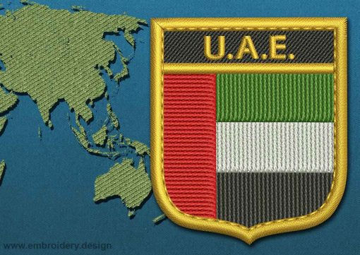 This Flag of United Arab Emirates Shield with a Gold border design was digitized and embroidered by www.embroidery.design.